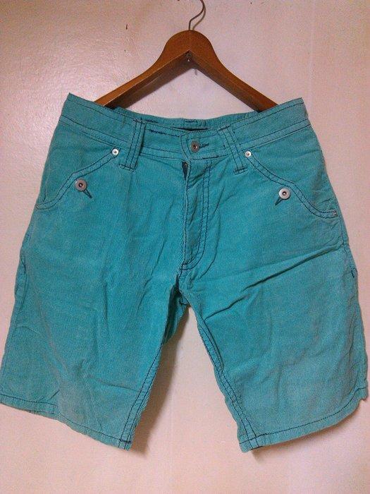 古著 Vintage 馬卡龍色系 燈芯絨 直紋絨 青蘋綠 時裝 休閒短褲 潮人著用款 G-Dragon TIFFANY綠