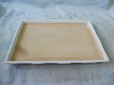 紫色小館38--------早期陶盤{長方形}白色