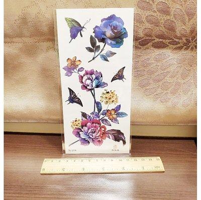 【萌古屋】藍色花朵TL-274 - 男女防水紋身貼紙刺青貼紙K19
