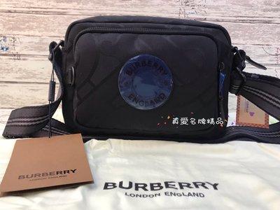 《真愛名牌精品》BURBERRY 8029989 黑膠布TB 男款鞋背包 / 郵差包  *全新*