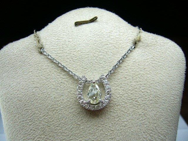 [吉宏精品交流中心]1.01克拉 梨形(水滴形) 天然鑽石 白k金 造型 墬子