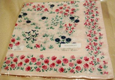 全新日本帶回日本製 NINA RICCI 100% 純棉方形領巾方巾絲巾手帕 3,低價起標無底價!本商品免運費!