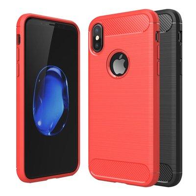 智慧購物王》Apple iPhone X / XS 碳纖維拉絲紋軟殼散熱防震抗摔手機殼-黑/紅