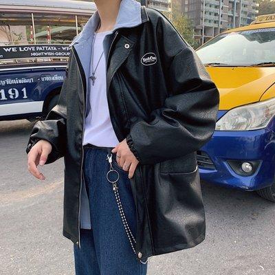 男皮衣夾克2020春季新款男P新U百搭假兩件外套皮新夾克dn