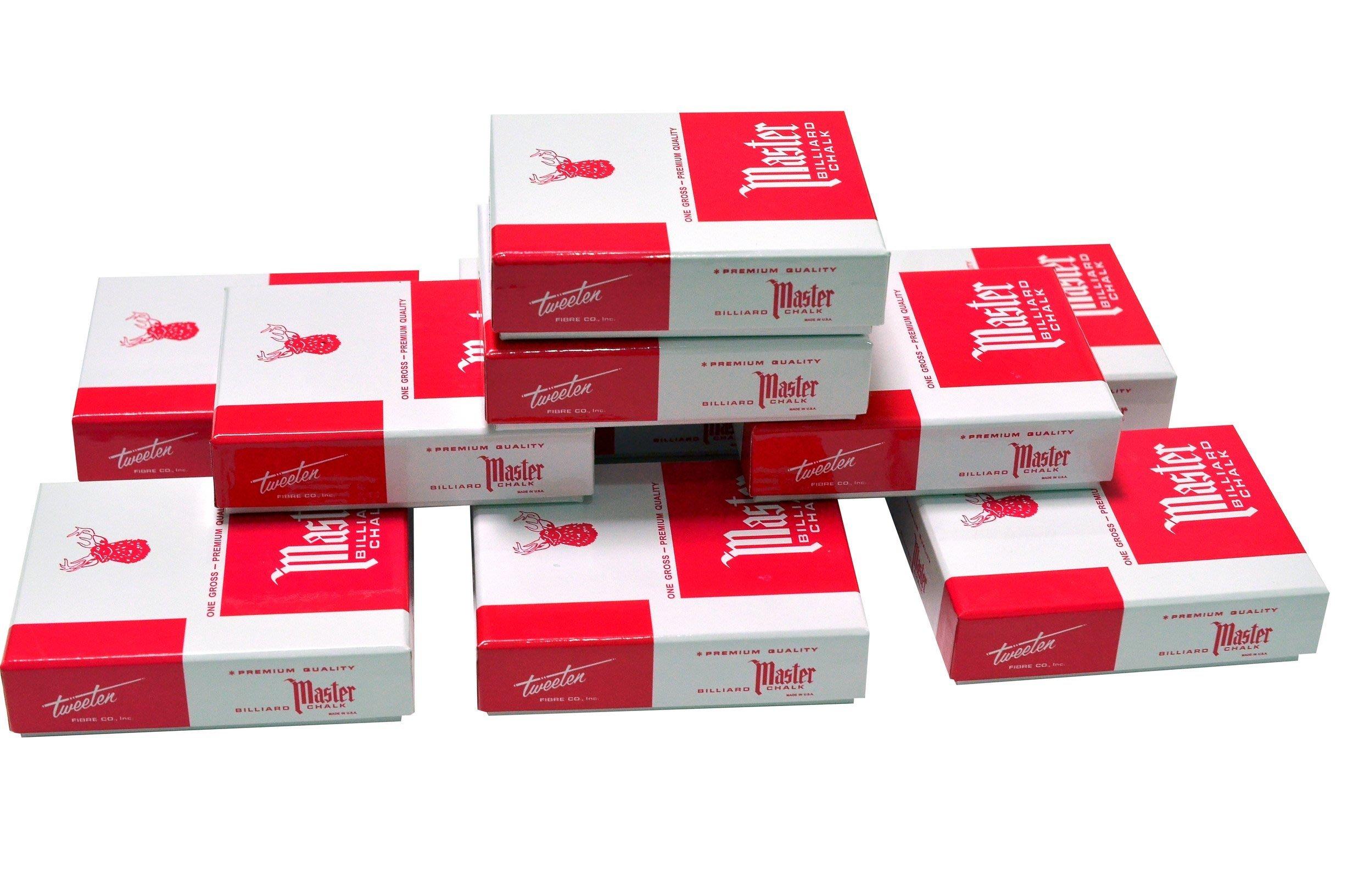 ☆Sunrise Billiard☆【美國進口3A級MASTER巧克,藍綠二色,不易掉粉 ,12顆包裝 。】 撞球桿