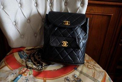 真品復古包 Chanel Vintage Duma 黑色金鏈菱格雙肩後背包