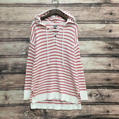 Maple麋鹿小舖 American Eagle * AE 粉色條紋針織連帽長袖上衣 * ( 現貨S號 )