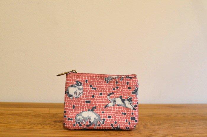 ☆Juicy☆日本雜誌附錄附贈 marble SUD 手繪 設計師 貓咪 收納袋 小物包 零錢包 可放悠遊卡 2375
