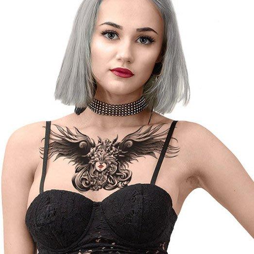 【萌古屋】女巫翅膀胸部胸下手臂大圖 - 男女防水紋身貼紙原宿刺青貼紙BC-300 K72