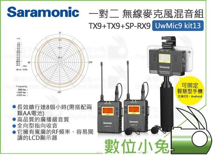 數位小兔【Saramonic UwMic9 Kit13 一對二 無線麥克風混音套裝 TX9+TX9+SP-RX9】送箱