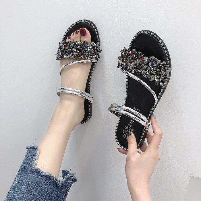 爆款--涼鞋女仙女風新款夏季百搭平底學生網紅羅馬鞋亮鉆兩穿涼拖潮#鞋子#涼鞋#百搭#時尚