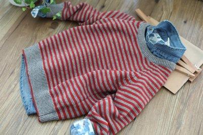 【Mr. Soar】 H339 冬季新款 歐美style童裝男童條紋毛衣 中大童 現貨