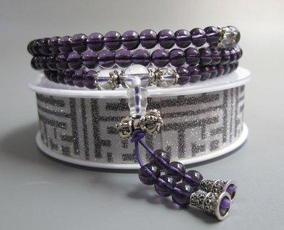 【波波小宅】特價出清 紫水晶配白水晶多圈手鏈藏銀108顆念珠6mm--703287 台中市