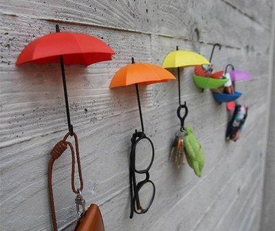 雨傘造型牆壁黏膠掛勾 【三入】免釘掛鉤 裝飾掛勾 創意生活收納 托盤 置物盤 另有無痕掛鈎 牆壁裝飾品創意禮品批發