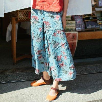 four seasons  C260/山色/2018夏新藍底綠花苧麻闊腿褲松緊腰女休閑褲