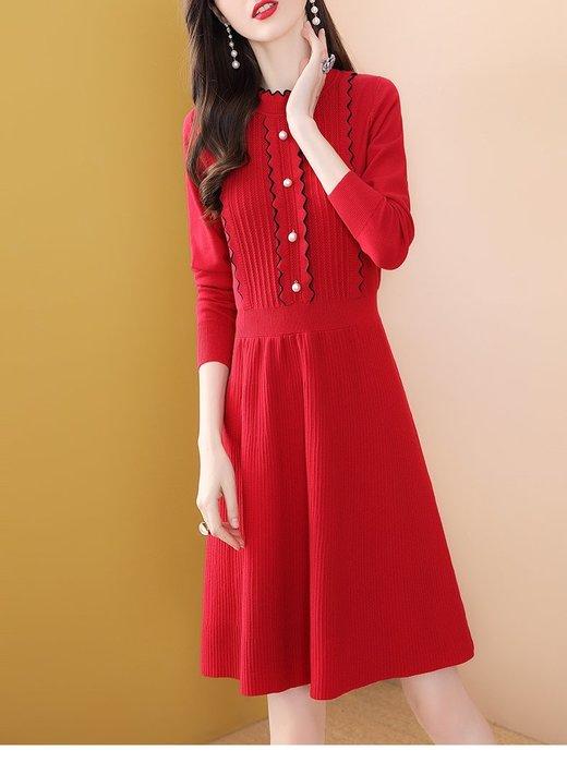 妞妞婚紗禮服~婆婆媽媽紅色喜氣A字裙修身洋裝連衣裙禮服 ~3件免郵