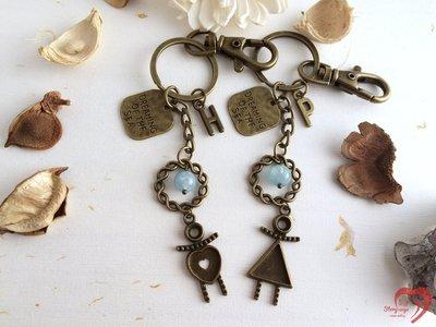 ♥STORY SAYS♥【你是我的小幸運】手創 客製 夢の海海藍寶古銅成對鑰匙圈 吊飾 畢業 禮物 朋友 3月 情人節