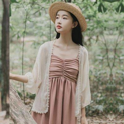 超仙女防曬衣開衫女夏季外搭配吊帶裙的小外套外披雪紡薄披肩短款  [全館免運]