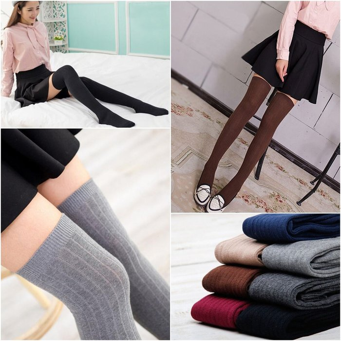 Nie Sansa 預購 新款韓系學院風豎條紋過膝長筒襪