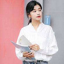 韓版寬松百搭學生長袖白襯衫女2018新款白色襯衣可愛小清新上衣
