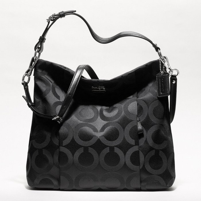 Coco小舖 COACH 21121 MADISON OP ART SATEEN ISABELLE   黑色