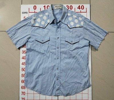 【二手衣櫃】日系品牌 BUSTLE DITCH 型男襯衫 短袖襯衫 牛仔襯衫休閒工作修身大碼純色半袖軍裝 1080320