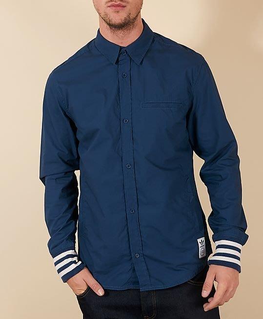 「NSS』Adidas Originals RCII SHIRT 素面長袖襯衫 螺紋 口袋 藍 S M L G77302