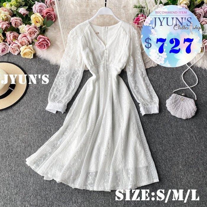 JYUN'S 秋新款法式V領蕾絲復古氣質顯瘦收腰連衣裙長袖洋裝連身裙 1色S/M/L預購