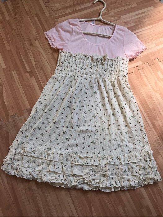 紫滕戀日系甜美睡衣 黃色小碎花淺粉拼接甜美荷葉邊裙裝現貨免等