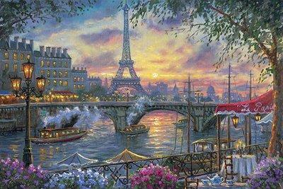 日本拼圖 繪畫風景 浪漫的法國巴黎 艾斐爾鐵塔夕陽美景 Robert Finale 1000片拼圖,1000-824