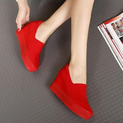 內增高樂福鞋 透氣小白鞋 坡跟百搭真皮休閒松糕底厚底鞋*Fashion