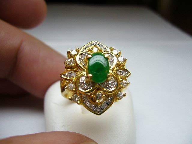[吉宏精品交流中心]A貨 蛋面 天然翡翠 天然鑽石 黃K金 戒指(5)(附證書)
