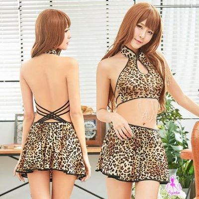 【妮薇NIVIE情趣用品】性感睡衣 豹紋透視柔紗美背二件式性感睡衣 WNA18030036