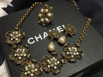 《限量》Dazzling 復古vintage 花朵鑲嵌珍珠項鍊