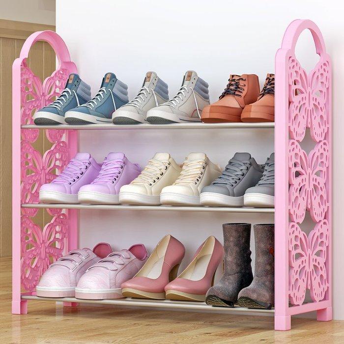 居家 置物架 鞋架 收納架 簡約 創意 鐵藝簡易鞋架 多層收納鞋柜簡約經濟型組裝防塵鞋架子