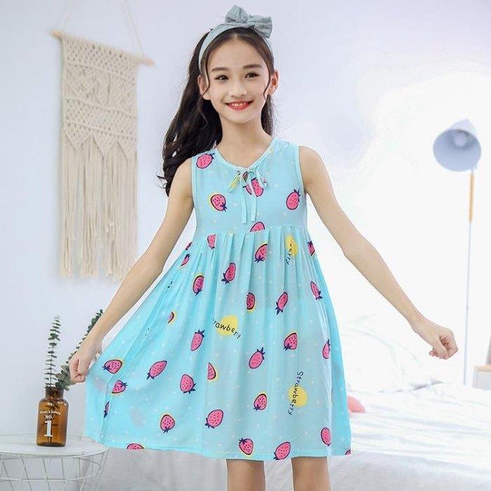 女童睡裙中大童夏季薄款母女親子女孩裙子棉綢吊帶洋裝兒童睡衣MTX15936