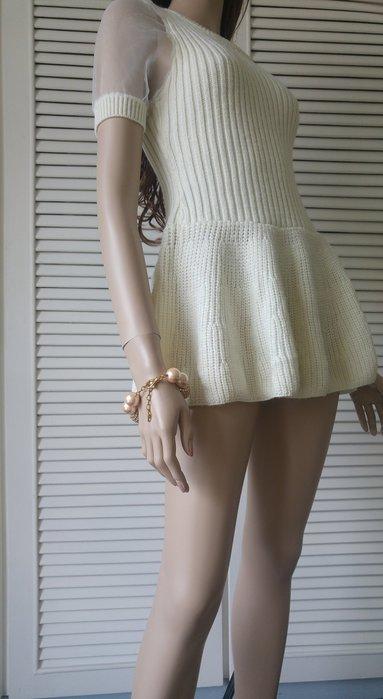 日本 Snidel 白色針織拼接白紗迷你裙洋裝