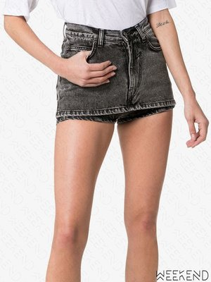 【WEEKEND】 PUSHBUTTON 假兩件 牛仔 熱褲 褲裙 黑色