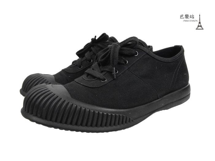 【巴黎站二手名牌專賣店】*現貨*PRADA 真品*黑色膠頭帆布鞋 餅乾鞋 (8號)