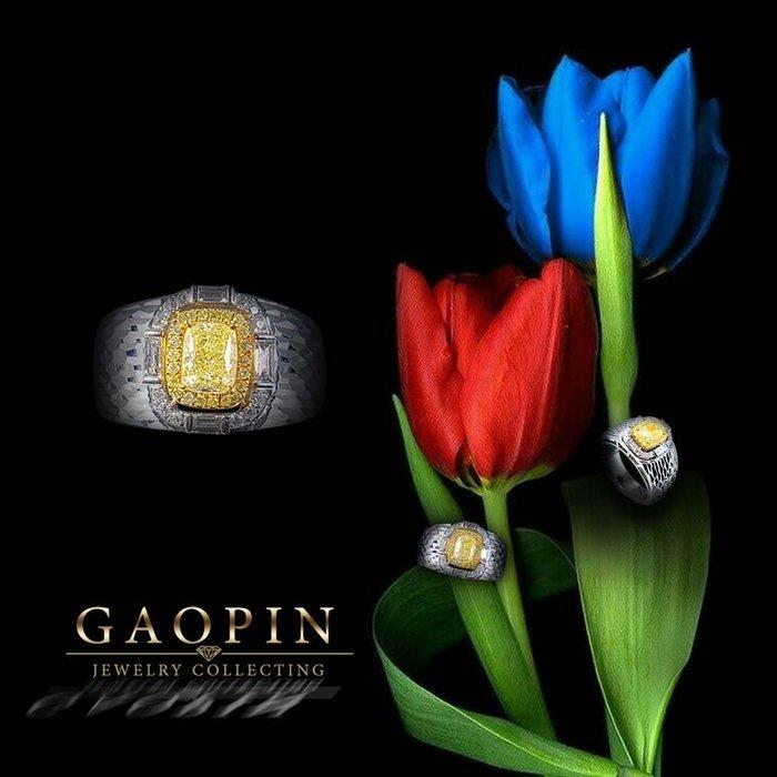 【高品珠寶】GIA黃鑽石戒指 男戒指 18K #1508
