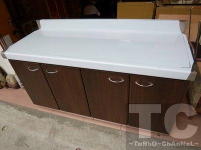 流理台【144公分工作平台】台面&櫃體不鏽鋼 深木紋色門板 最新款流理臺