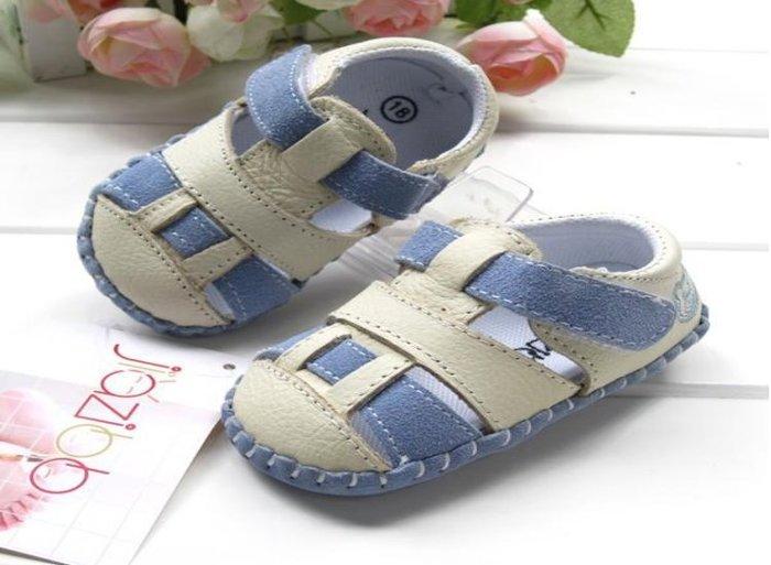 寶貝倉庫- 真皮-藍色休閒包頭涼鞋-寶寶鞋-娃娃鞋-童鞋-嬰兒鞋-磨砂底-德國設計-粘扣設計-彌月禮-促銷價1雙220