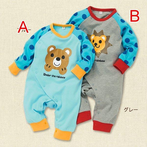 【瑜瑜小屋】可愛《藍小熊小獅》長袖連身衣
