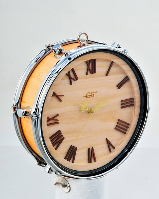 """Goedrum """" 鼓手限定 """" 真實小鼓所製作的時鐘(北美楓木/黑檀木/金蔥紅等)文創好物"""