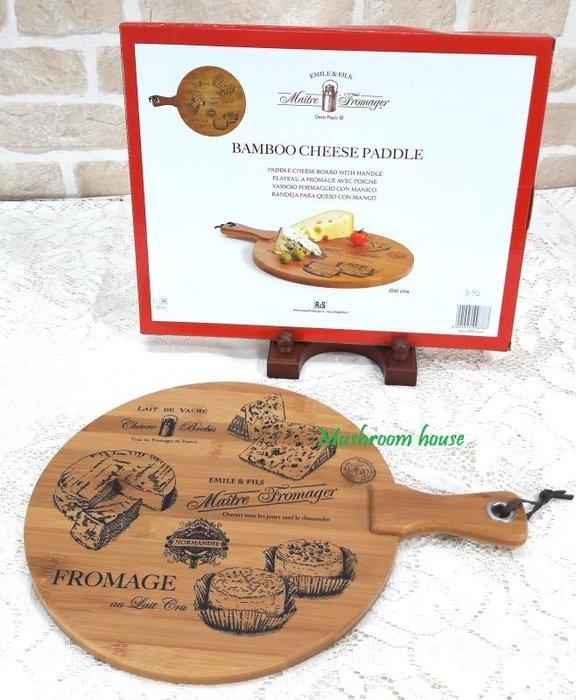 點點蘑菇屋 義大利Easy Life Design球拍型竹製起司板 切麵包板 把手木托盤 蛋糕盤 點心盤 砧板 現貨