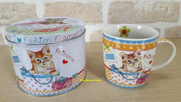 點點蘑菇屋 義大利Easy Life錫盒裝公主馬克杯 Mug 貓咪 格子 小花 愛心 鐵盒 水杯 杯子 禮盒裝 現貨