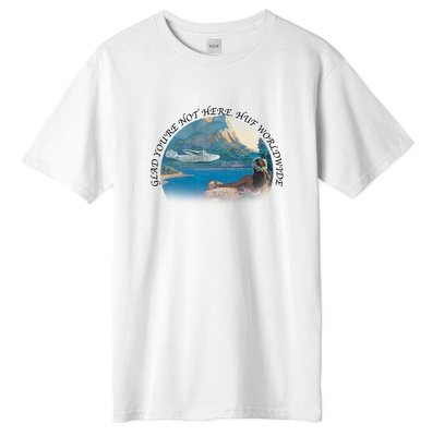 【HOMIEZ】HUF Glad Youre Not Here T-Shirtt【TS01102】白 短TEE