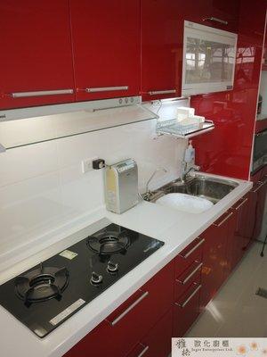 【雅格廚櫃】工廠直營~一字型廚櫃、流理台、廚具、結晶鋼烤、林內三機