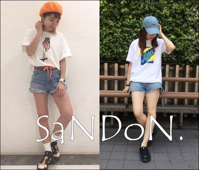 SaNDoN x 『X-girl 』CUT OFF SHORTS/流蘇復古刷色反摺牛仔短褲  Ne-Net 170630