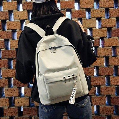 鏈條 百搭 復古  書包女中學生 校園旅行大背包森系 學院風雙肩包帆布電腦包男